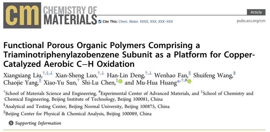 北理工在有机多孔聚合物材料的前官能化合成策略及其